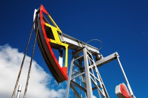 Oil pump against blue sky