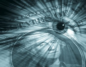 US dollar with eye image