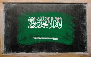 Flag of Saudi Arabia on blackboard