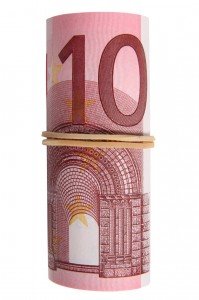 A roll of 10 Euro notes with an elastic band wrapped around.