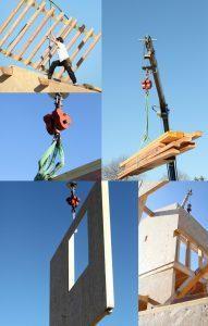 Mosaic of crane lifting lumber