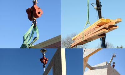 Mosaic of crane lifting lumber