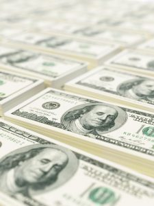 Close up of stacks of bank notes