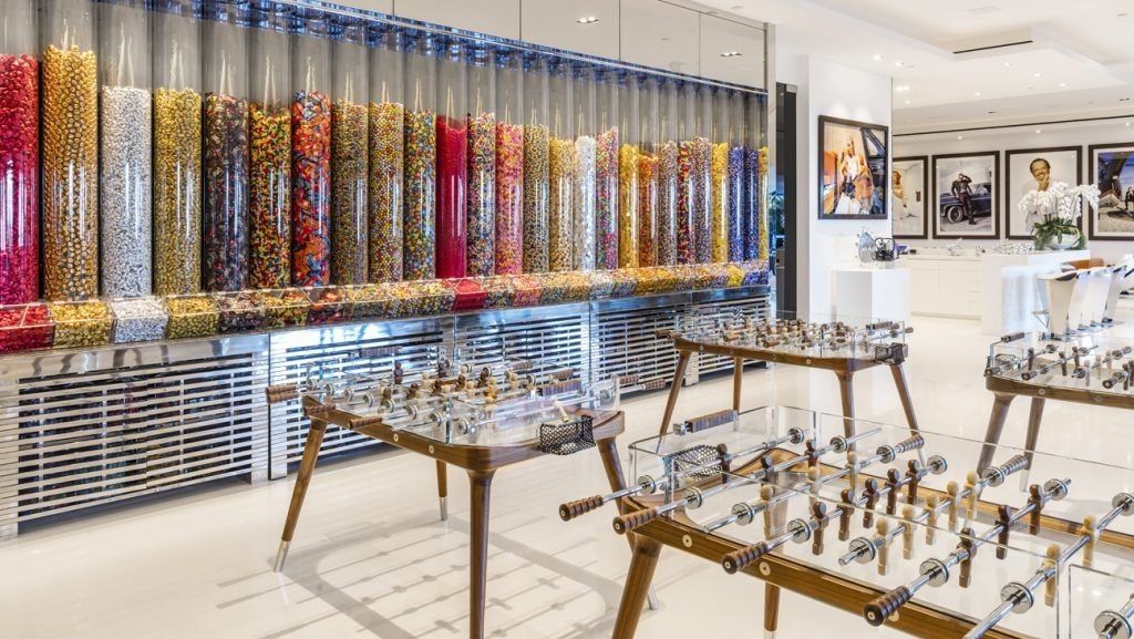 A $200,000 candy wall with one-of-a-kind glass foosball tables.