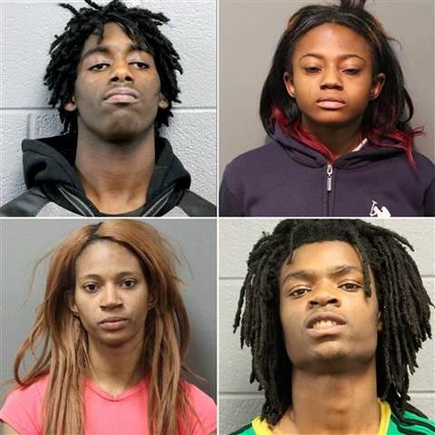 (Top, L-R): Jordan Hill, Brittany Covington (Bottom, L-R): Tanishia Covington, Tesfaye Cooper Chicago Police Department - AP