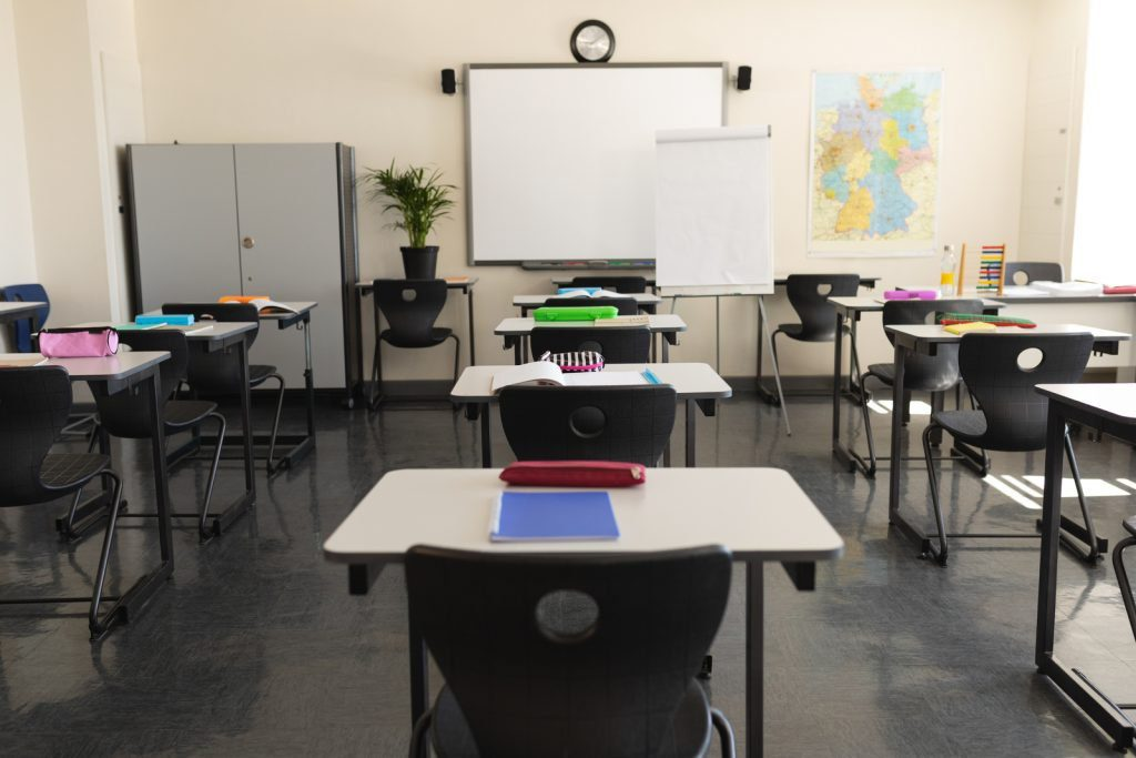 classroom with desk
